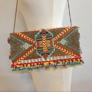 NWT • beaded clutch made in India • chain strap •